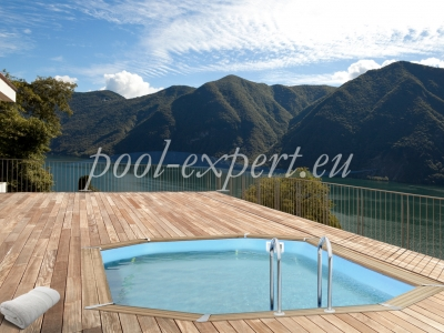 Oval wooden pool  760 x 406 x 133 cm