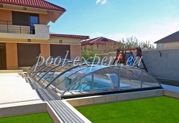 стандартно покритие за басейн с прозрачен ( стъкловиден) поликарбонат 3 мм
