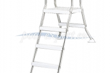 Stainless-steel ladder with platform for partial build-in pools